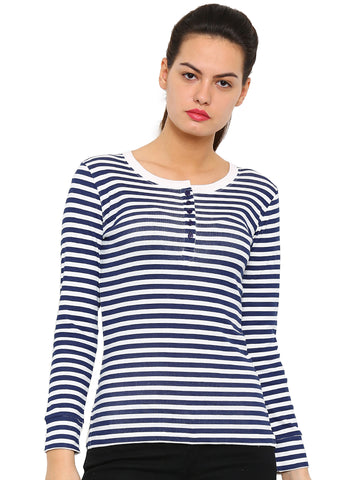 De Moza Women's Full Sleeve Tops Printed Cotton Offwhite - De Moza