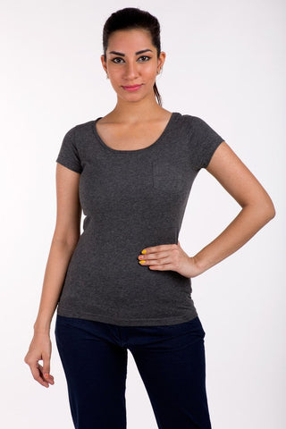 De Moza- Ladies Anthra Melange Top - De Moza