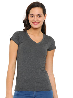 De Moza Ladies Knit Top Half Sleeve Melange Solid Anthra Melange