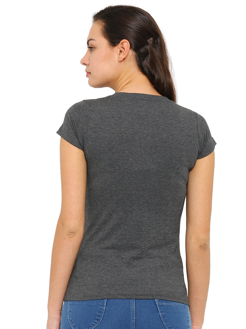 De Moza -Ladies Half Sleeve Anthra Melange top - De Moza