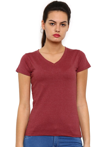 De Moza Ladies Knit Top Half Sleeve Melange Solid Maroon Melange