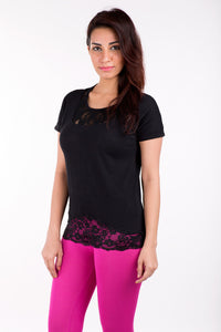 De Moza Ladies Knit Top Half Sleeve Cotton    Solid Black