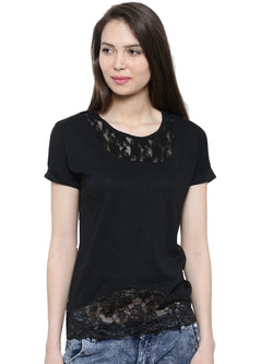 De Moza Ladies Short Sleeve Tops Solid Cotton    Black XXL