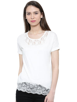 De Moza Ladies Short Sleeve Tops Solid Cotton    Offwhite XXL