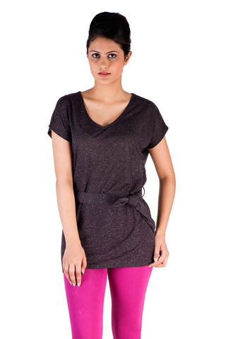 De Moza Ladies Knit Top Half Sleeve Polyester Solid Black