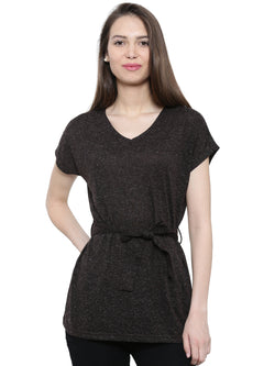 De Moza Ladies Short Sleeve Tops Solid Polyester Black XXL