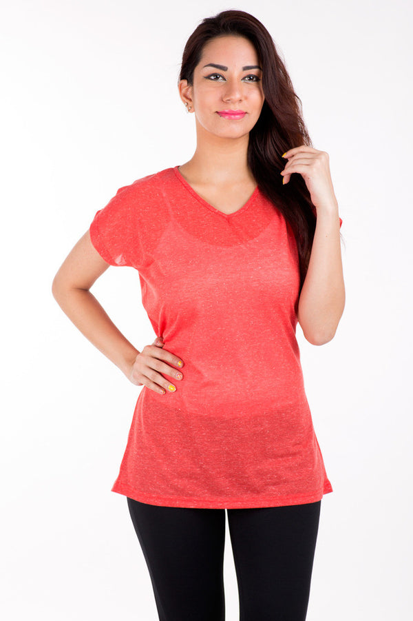De Moza- Ladies Red Solid Top - De Moza