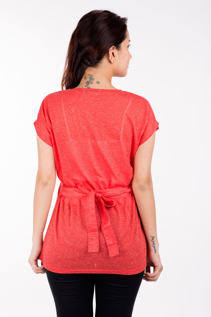 De Moza Ladies Knit Top Half Sleeve Polyester Solid Red