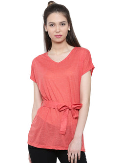 De Moza Ladies Short Sleeve Tops Solid Polyester Red XXL