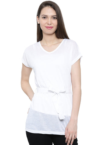 De Moza Ladies Knit Top Half Sleeve Polyester White - De Moza