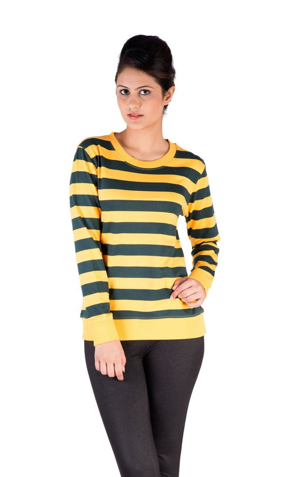 Ladies Knit Top Sweat Shirts Cotton Yellow With Navy Print - De Moza