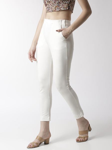 De Moza Women's Cigarette Pant Knit Bottom Solid Cotton Offwhite - De Moza