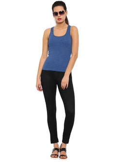De Moza Ladies Knit Bottom Jeggings Cotton Lycra Solid Black