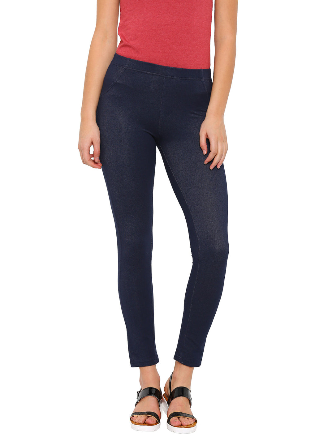 De Moza-Ladies Cotton Blue Jeggings - De Moza