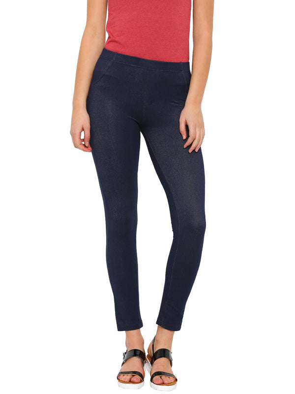 De Moza Ladies Knit Bottom Jeggings Cotton Lycra Solid Blue