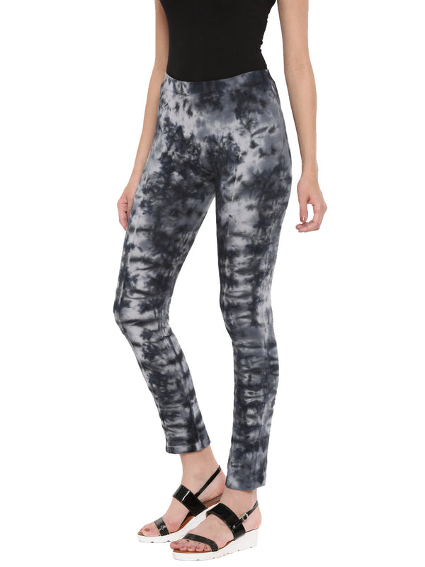 De Moza Ladies Die & Dye Black Knitted Jeggings - De Moza