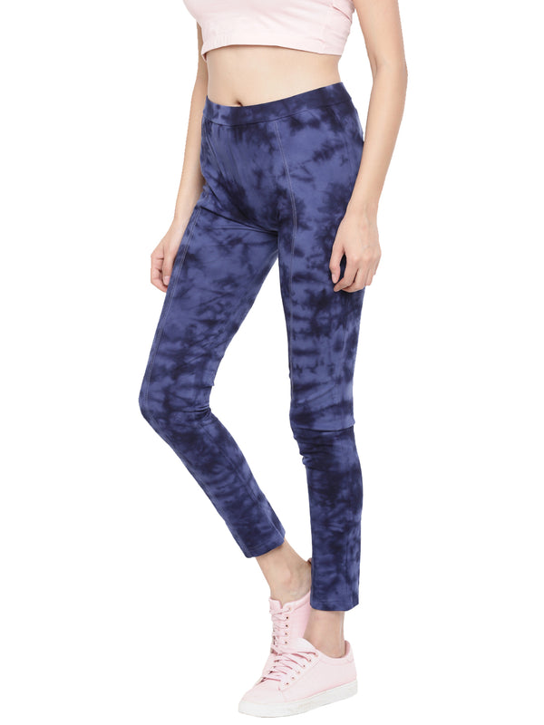 De Moza- Ladies Die & Dye Indigo Blue Knitted Jeggings - De Moza