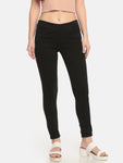 De Moza Ladies Knit Pant Blended Solid Jeggings Black - De Moza
