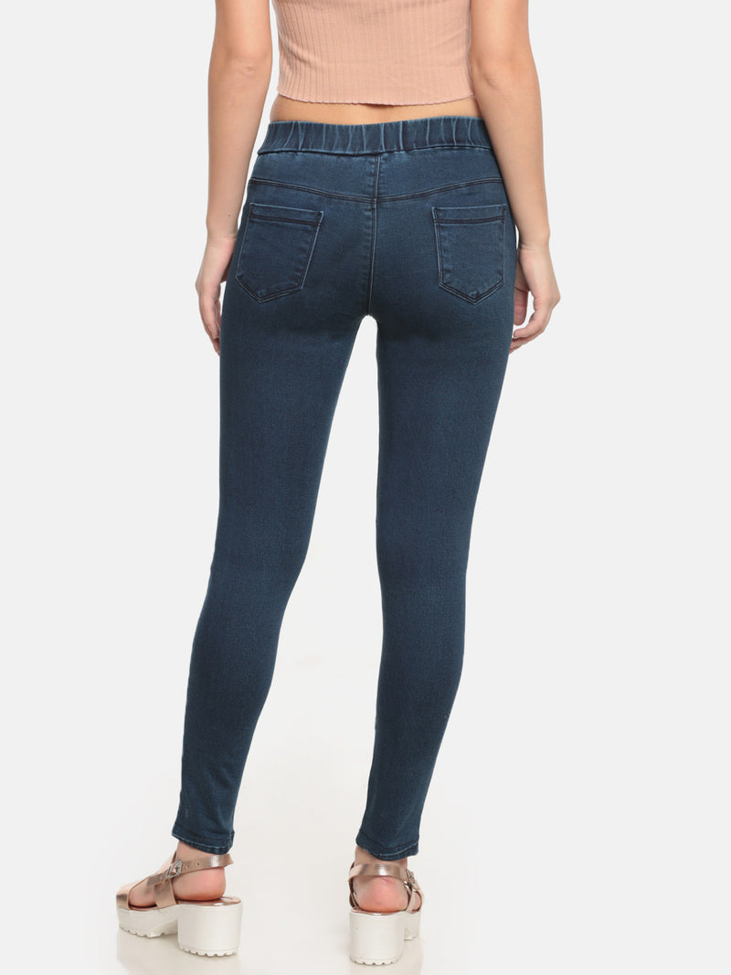 De Moza- Ladies Denim Pant Blue - De Moza