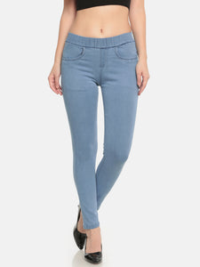 De Moza Ladies Knit Pant Denim Solid Jeggings Ice Blue - De Moza