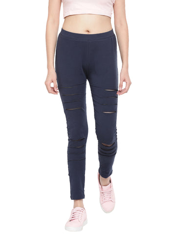 De Moza Ladies Knitted Dark Navy Blue Jeggings