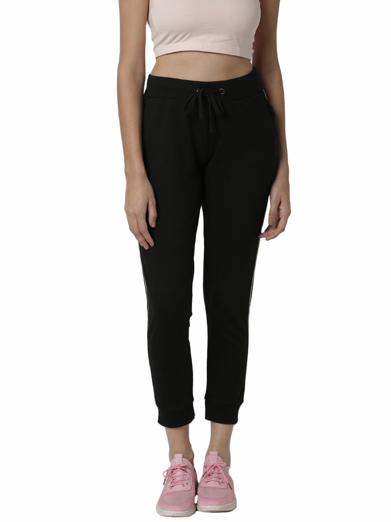 De Moza Ladies Side stripe Black Jogger - De Moza