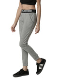 De Moza Women's Jogger Knit Bottom Solid Cotton  Grey Melange - De Moza