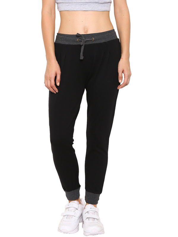 De Moza Ladies Knit Bottom Jogger Solid Cotton Black - De Moza
