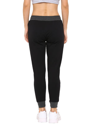 De Moza Ladies Knit Bottom Jogger Cotton Solid Black