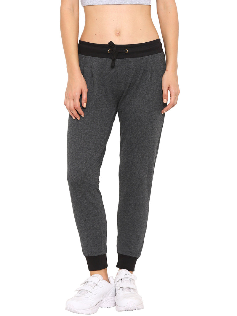 De Moza Ladies Knit Bottom Jogger Solid Cotton Melange Anthra Melange - De Moza