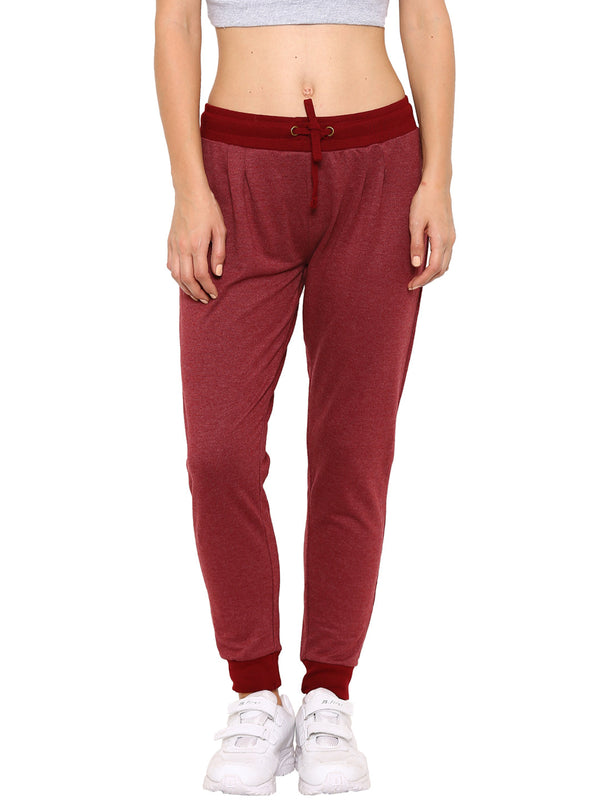 De Moza Ladies Knit Bottom Jogger Solid Cotton Melange Maroon Melange - De Moza