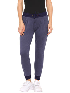 De Moza Ladies Knit Bottom Jogger Cotton Melange Solid Navy Blue Melange