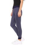 De Moza Ladies Knit Bottom Jogger Solid Cotton Melange Navy Blue Melange - De Moza