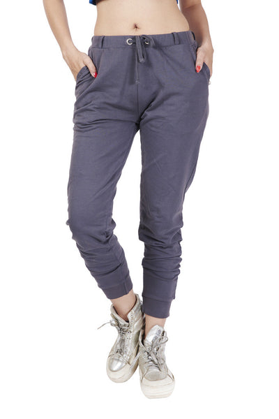 De Moza Ladies Knit Bottom Jogger Solid Cotton Dark Grey XXL 240 GSM | Mild Wash | Don't Bleech | Dry in Shade