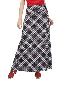 De Moza Ladies Woven Bottom Long Skirt Printed Viscose Lycra Offwhite XXL 180 GSM | Mild Wash | Don't Bleech | Dry in Shade