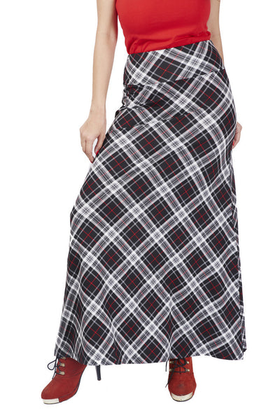 De Moza Ladies Woven Bottom Long Skirt Printed Viscose Lycra Offwhite