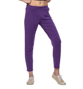 De Moza Ladies Knit Bottom Pleated Pant Viscose Lycra Solid Dark Purple