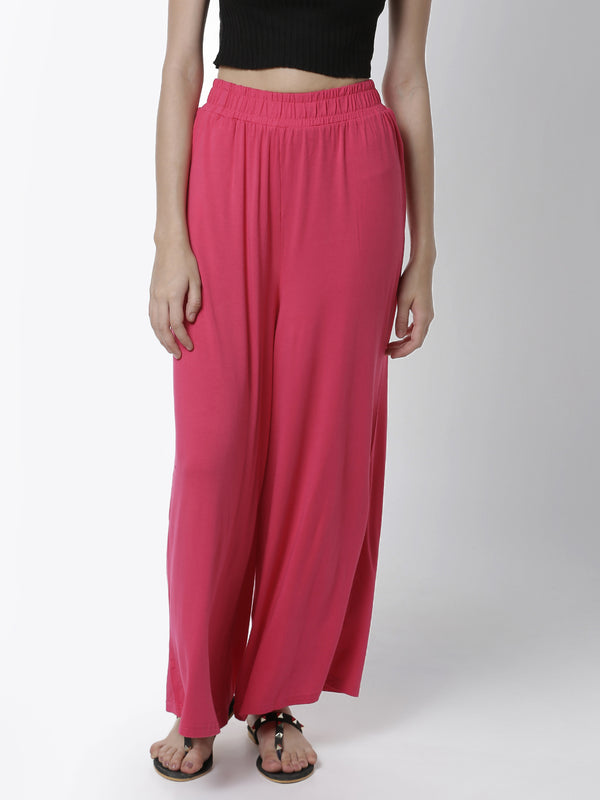 De Moza Women's Palazzo Knit Bottom Solid Viscose Fuchsia - De Moza