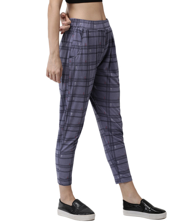 De Moza Ladies Printed Straight Pant Blue