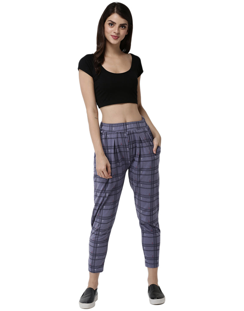 De Moza Ladies Printed Straight Pant Blue - De Moza