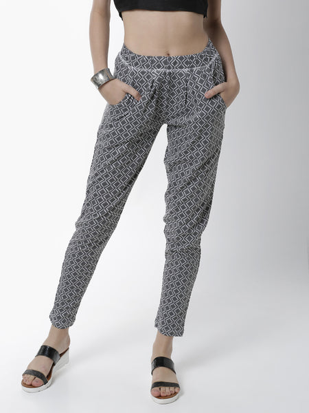 De Moza Women's Printed Straight Pant Knit Bottom Cotton Dark Grey - De Moza