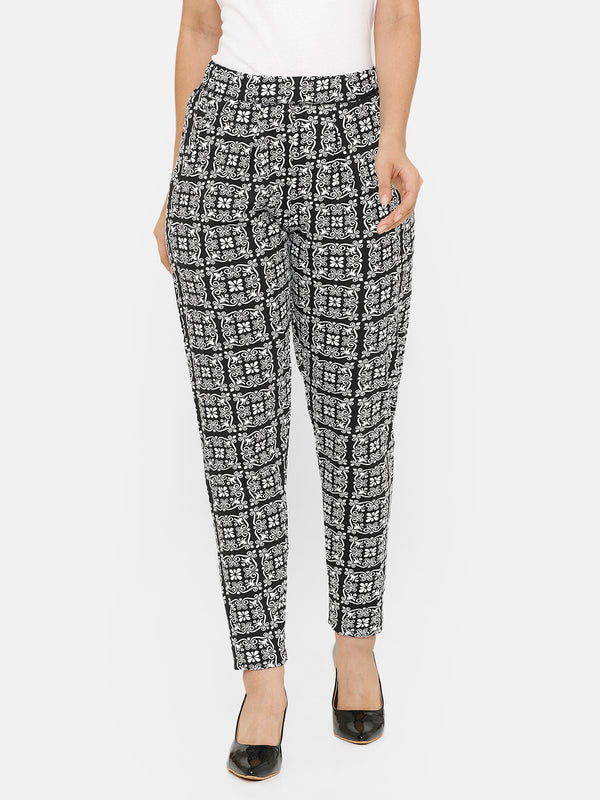 De Moza women's Printed Straight Pant Knit Bottom Cotton Black - De Moza