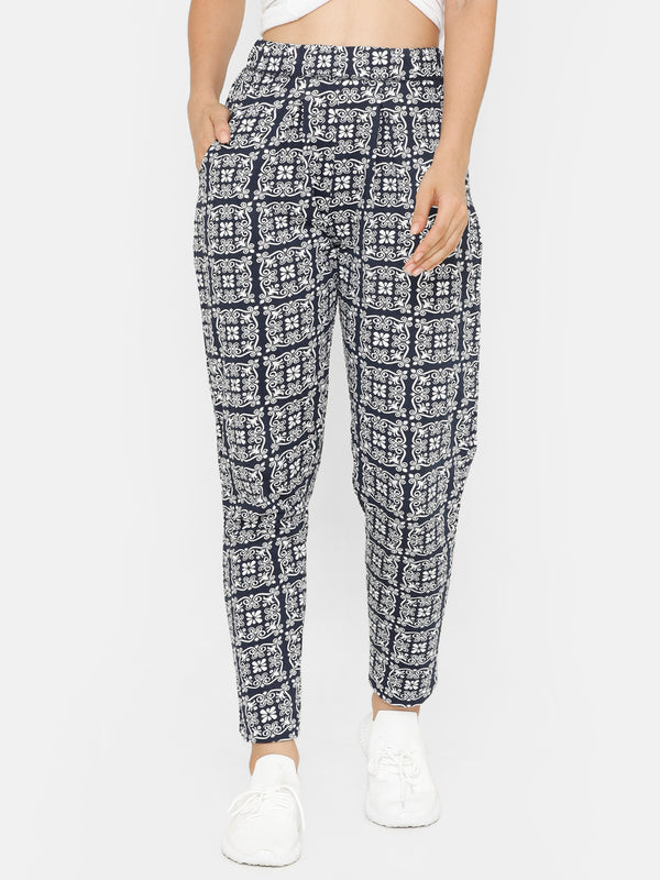 De Moza women's Printed Straight Pant Knit Bottom Cotton Dark Navy Blue - De Moza
