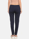 De Moza Ladies Knit Pant Polyester Solid Treggings Navy Blue - De Moza