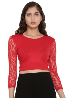 De Moza Women's 3/4Th Crop Top Knit Top Lace Viscose Red - De Moza