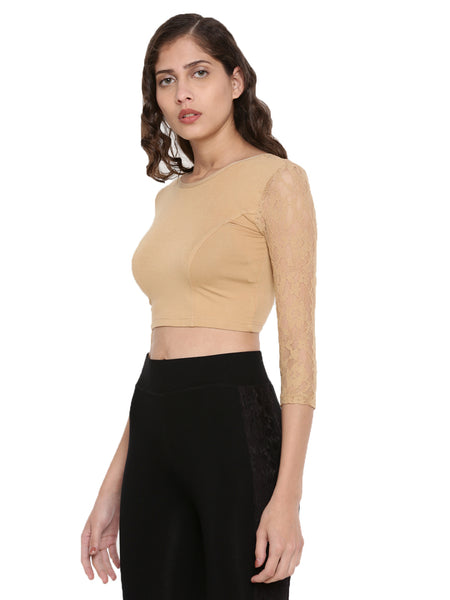 De Moza Women's 3/4Th Crop Top Knit Top Lace Viscose Skin - De Moza