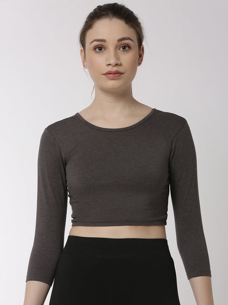 De Moza Ladies 3/4th Crop Knit Top Solid Cotton Anthra Melange - De Moza