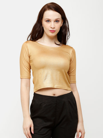 De Moza Women's HS Crop Knit Top Solid Polyester Gold - De Moza