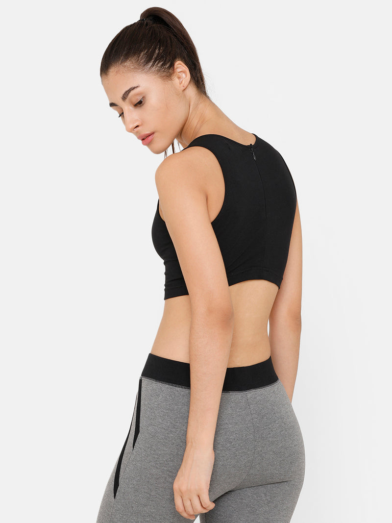 De Moza Women Razor Back Crop Top Solid Cotton Black - De Moza