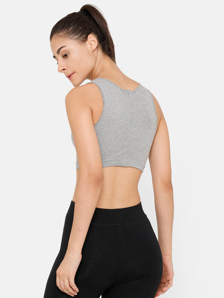 De Moza Women Razor Back Crop Top Solid Cotton Grey Melange - De Moza